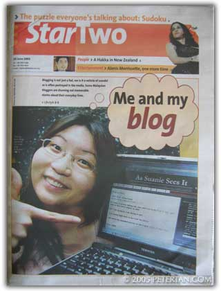 Suanie on cover of Star Two in 2005